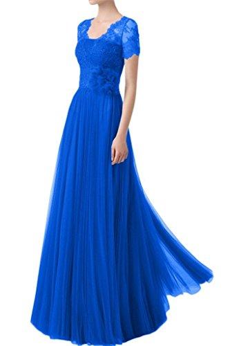 Partykleider Spitze Royal mit Kurzarm Festlichkleider Ballkleider La Braut Abendkleider Langes Brautmutterkleider Blau mia SqtnfSP0wZ