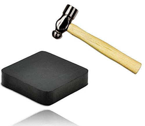 Jewelry Making Supplies Tools Kit - Crafts and Jewelry Mini Hammer, 6-inch, with One Black Rubber Bench Block, 4 by 4-inch, for Jewelry Making and for Metal Smiting. by kedudes