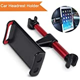 "Guamar Car Headrest Mount Phone & Tablet Holder,Tablet Holder for Car, Rotatable & Adjustable, Car Seat Back Stand Bracket for iPad Mini 2 3 4, Phone X 8 7 6 Plus 6s,Other Devices 4""-10.1"" (Red)"