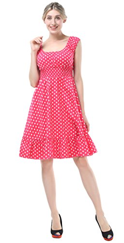 (BI.TENCON Women's 1950s Vintage Fuchsia Polka Dot Smock A-Line Party Dress Short Sleeve 2XL)
