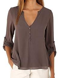 Shinekoo Womens Chiffon T-shirt Long Sleeve Tops Loose Oversized Blouse