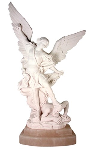 Saint Michael the Archangel 13 Inch Carved Italian Alabaster Statue with Marble Base
