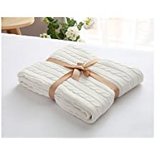 Surblue Super Soft Warm Throw, Bed Blanket in Cotton Cable Knit, Great for Nap
