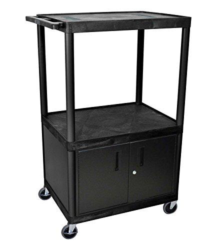 LUXOR LE54C-B Endura 3-Shelf A/V Cart with Cabinet, (Luxor Endura Video)