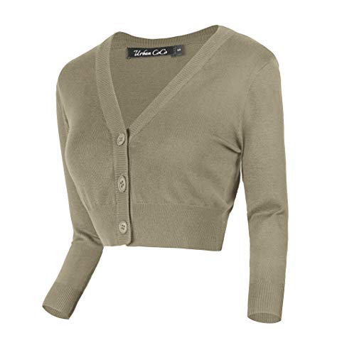 - Urban CoCo Women's Cropped Cardigan V-Neck Button Down Knitted Sweater 3/4 Sleeve (Khaki, M)