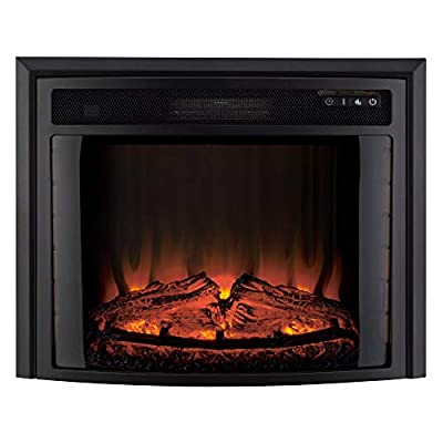 """RecPro RV Fireplace 28""""   Electric RV Fireplace   Curved Glass   Camper   Heater   Remote Included"""