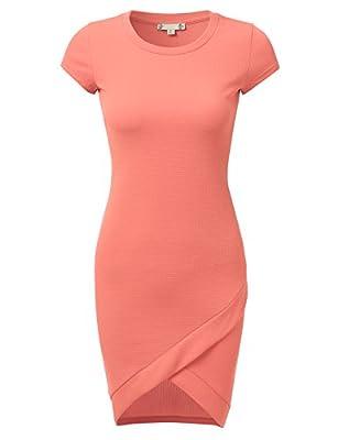 DRESSIS Women's Short Sleeve Midi Bodycon dress w/ tulip hem