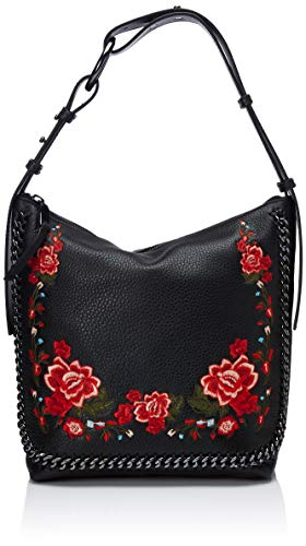 Calvin Klein Liana Pebble Leather Floral Embroidery Belted Top Zip Slouchy Hobo, Black (Hobo Belted Handbag)