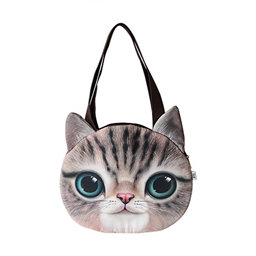Holiberty Fashion Womens Ladies Girls Cute 3D Animal Cat Face Head Printing Zipper Cross-body Casual Shopping Travel Single Shoulder Bag Tote Purse Satchel - Outlet Bag Guess