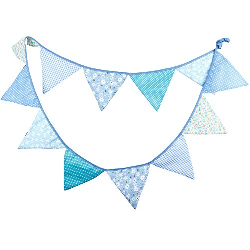 10.5 Feet Double Sided Blue Cotton Fabric Triangle Flag Bunting Pennant Banner 12 Flags For Baby Shower Christmas New Year Birthday Wedding Party Kids Room Home Teepee Nursery Decor, Pack of 1