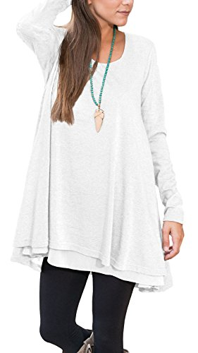 (Floral Find Women Long Sleeve Blouse Layered Scoop Neck Tunic Loose Fit Dress (X-Large, White))