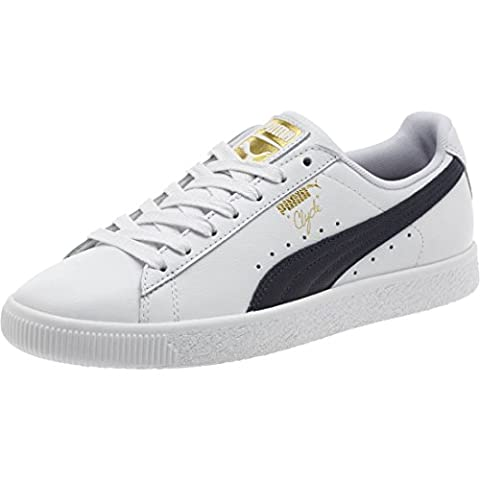 PUMA Select Men's Clyde Sneakers, White/Black/Gold, 9 D(M) US