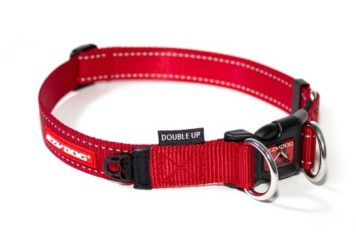 EzyDog Double Up Premium Nylon Dog Collar with Reflective Stitching - Double D-Rings for Superior Strength, Safety, and Comfortability - Non-Rusting and Includes an ID Attachment (Large, Red)