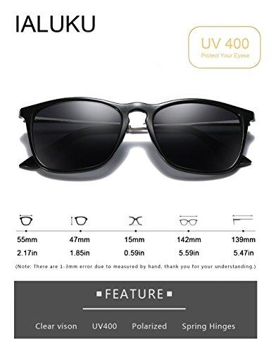 9870a5611c IALUKU Wayfarer Sunglasses Polarized Square Frame UV400 Protection Retro  Style for Women Men (Black