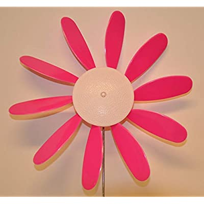 "Breast Cancer,Beloit Plastics 12"" Dia. Spinning Daisy (6 Pack) – 24"" Tall Pinwheel & Wind Spinner for Garden,Lawn,Patio –Vibrations May Irritate Moles - Front & Back Yard Decoration – USA Made: Garden & Outdoor"