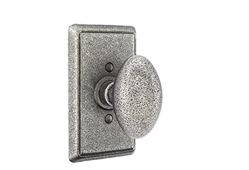 Emtek 7203 PRIVACY SET #3 Wrought Steel Rosette, 7 knob/lever options and 2 finish options (Indicate left or right handed for levers) (Savannah Knob, Satin Steel (SWS)) ()