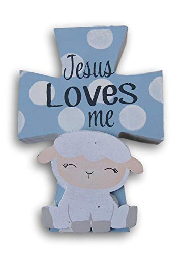 Miniature Baby Room Cross Plaque - Jesus Loves Me - 4 x 5.5 ()