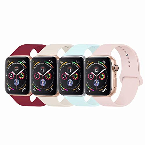 YC YANCH Compatible with for Apple Watch Band 38mm 40mm, Soft Silicone Sport Band Replacement Wrist Strap Compatible with for iWatch Series 5/4/3/2/1, Nike+, Sport, Edition, M/L, Size Pink/White