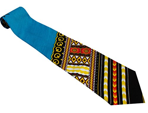 RaanPahMuang Branded Handmade Bold African Dashiki Printed Cotton Necktie Tie, Angle - Dodger Blue ()