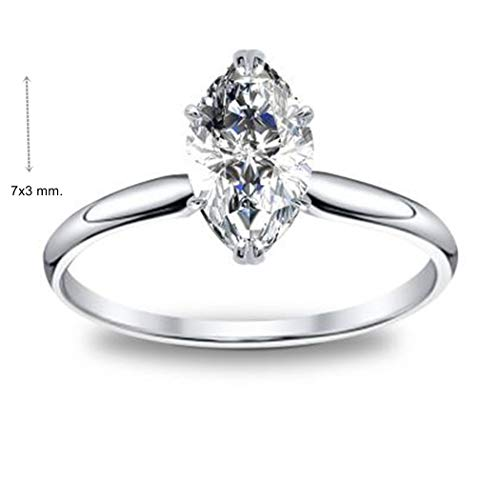 - GIA Certified 0.30 Carat Natural Marquise Diamond 14k White Gold Wedding Ring