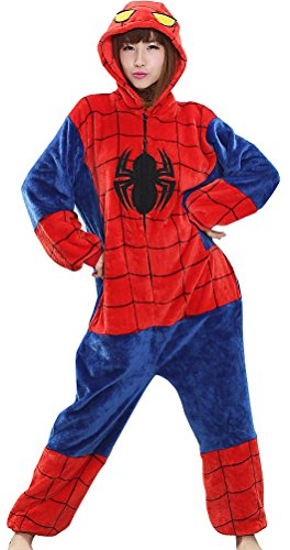 731e7a741186 Pulle-A New Pajamas Spiderman Anime Costume Adult Animal Onesie Cosplay XL