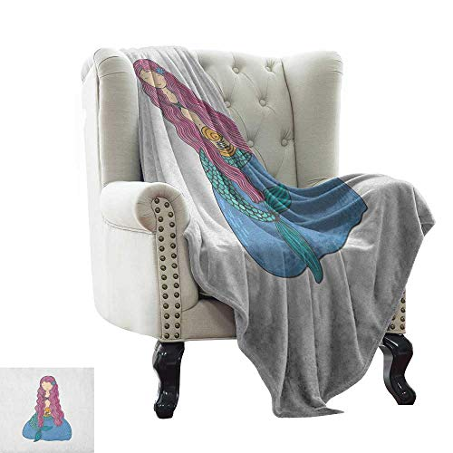 LsWOW Baby Blanket Mermaid,Sweet Mythological Girl with a Shell and Long Pink Hair Fantastic Sea Character, Multicolor Indoor/Outdoor, Comfortable for All Seasons 35