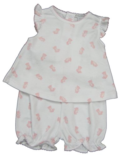 Kissy Kissy Baby-Girls Infant Tiny Teddy Print Sunsuit-White With Pink-9 Months