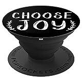 Sassy Southern Charm & Grace Choose Joy Christian White Lettering on Black PopSockets Stand for Smar - PopSockets Grip and Stand for Phones and Tablets