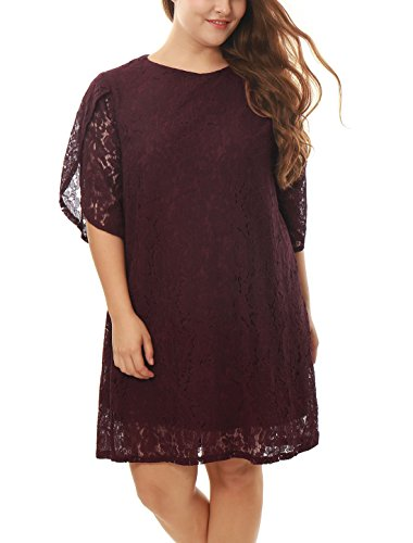 uxcell Women Plus Size Tulip Sleeves Floral Lace Shift Dress Burgundy 1X