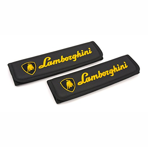 Lamborghini seat belt covers pads shoulder for adults Black seatbelt cover pad with embroidered Lamborghini emblem Interior accessories 2 - Certificate Gift Singapore