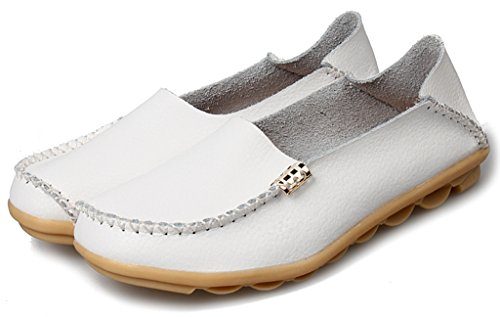 Labato Flat Leather Shoes Loafers Casual 4 Driving Cowhide White Driving Moccasin Women's zSBqwSR
