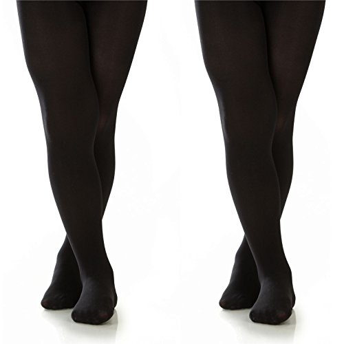 Silky Toes Girls Microfiber Opaque Footed Tights- 2 Per Pack (Size: 6-8, Black (2 Pairs)) by Silky Toes