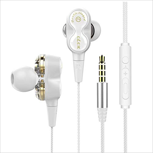 VitaVela 2019 New Universal Earphone/Ear Buds 3.5mm Stereo Headphones in-Ear Tangle Free Cable with Built-in Microphone Earbuds,for iPhone iPod iPad Samsung Android Mp3 Mp4 and More Smart Phone-White ()