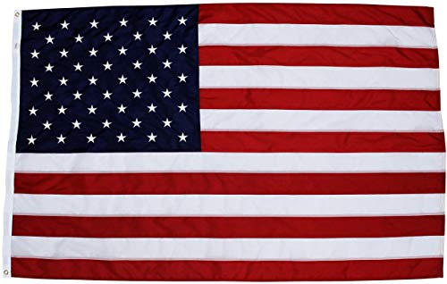 Fine Line Flag | 4x6 Ft American Flag | 100% Made in USA | US Flag in Heavy Duty Outdoor Nylon - UV Fade Resistant - Premium Embroidered Stars, Sewn Stripes, and Brass Grommets (4 x 6 Foot) ()