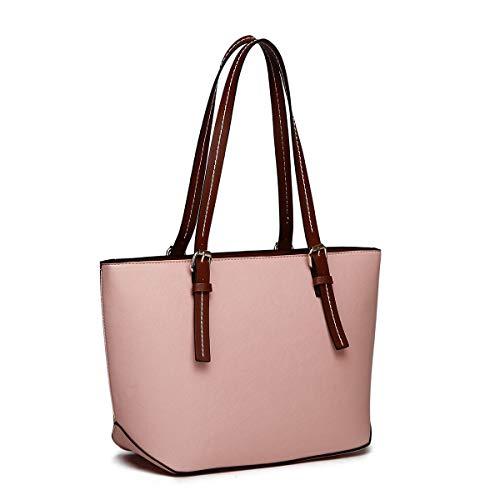 (XB Laptop Tote Bag Fits Up to 13.3'' Lightweight Work Tote Bag Women's Top Handle Satchel Handbags Purse Tote Shoulder Bag (Pink))