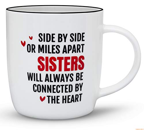 Gifffted Best Sister Ever Coffee Mug, Funny Sisters Day Gifts From Sister, Birthday Gift Ideas For My Worlds Greatest Sister, Rakhi Mugs, Twin,Big,Little,Younger,Older, Side by Side Miles Apart Cup