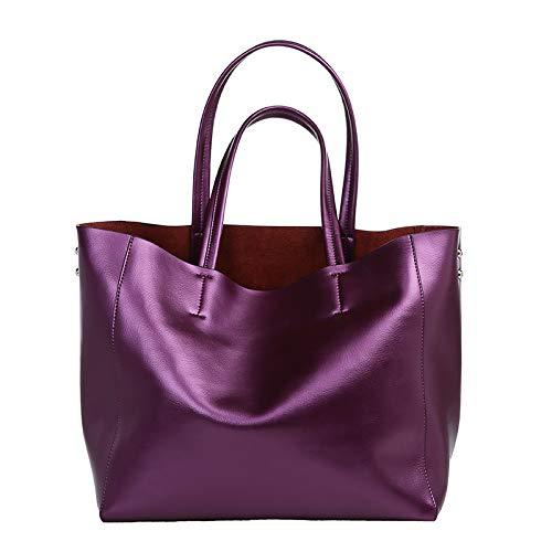 Bolso Capacidad Purple Hombro Asa Bolsas Superior Cuero Mujer Gran De Mano nwqxYZ4X4