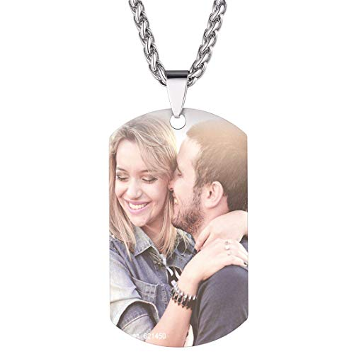 U7 Personalized Dog Tags Necklace with Chain Stainless Steel Text/Image Print Photo Custom Engraving Pendant, Christmas or New Year Gift for Men Women (Stainless Photo Custom)