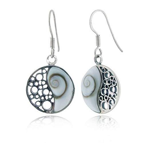 925 Sterling Silver Shiva Eye Shell Inlay Yin Yang Dangle Hook Earrings