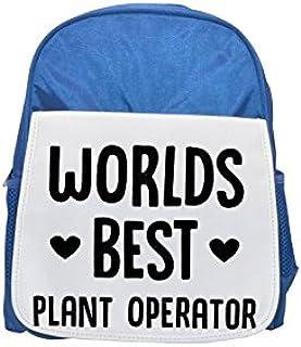 World's best Plant Operator printed kid's blue backpack, Cute backpacks, cute small backpacks, cute black backpack, cool black backpack, fashion backpacks, large fashion backpacks, black fashion backp