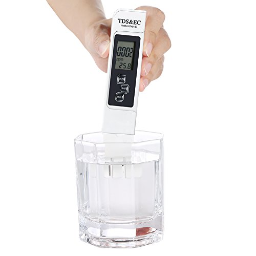 Digital Water TDS EC and Temperature (3 in 1) Meter, Water Quality Purity Tester, ATC Function, 1ppm Resolution, 0-9990 ppm Measurement Range for Drinking Water, Hydroponics, Aquariums, Pools and Spas