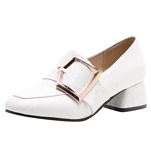Mee Shoes Damen Bequem Chunky Heels Slip On Loafers Weiß