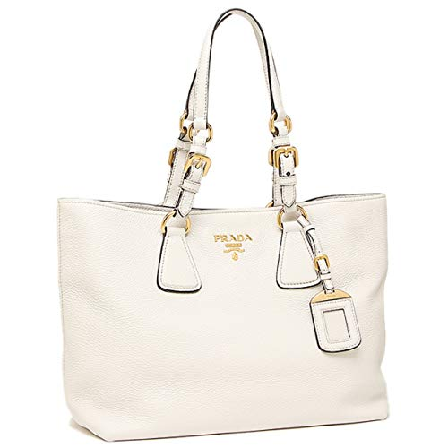 (Prada Vitello Phenix White Leather Shopping Tote Handbag 1BG043)