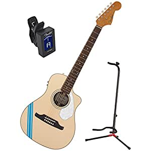 fender malibu ce mustang acoustic electric guitar olympic white w stand and tuner. Black Bedroom Furniture Sets. Home Design Ideas