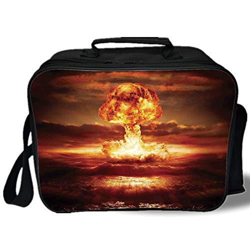 Country 3D Print Insulated Lunch Bag,Bomb in the Ocean Fusion Radioactive Weapon Apocalypse Illustration Print Decorative,for Work/School/Picnic,Orange Yellow