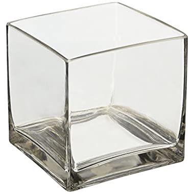 6  Square Glass Vase - 6 Inch Clear Cube Centerpiece - 6x6x6 Candleholder