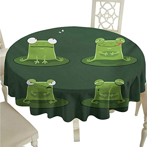 longbuyer Round Tablecloth Fitted Funny,Funny Muzzy Frog on Lily Pad in Pond Hunting Tasty Fly Expressions Cartoon Animal,Hunter Green D70,for Spring - Frog Pad Display Lily