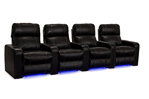 Lane Dynasty Black Bonded Leather Home Theater Seating (Large Image)