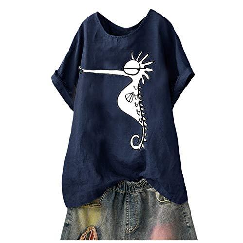 Witspace Plus Size Women Short Sleeve Cotton Linen O-Neck Print Blouse Top T-Shirt