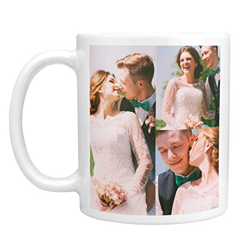 Customizable Mug Easy Collage Tool - 11 oz. Coffee Mug Personalized - Add Up To 3 Photo to Custom Mugs, Ceramic, Tazas Personalizadas, Monogram Novelty Mug, Great Gift Idea (Collages For Pictures)